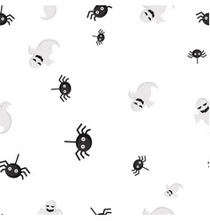 Ghost spider halloween pattern seamless vector