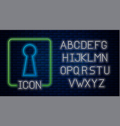 Glowing neon keyhole icon isolated on brick wall vector