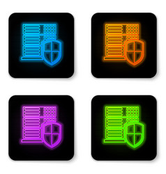 Glowing neon server with shield icon isolated on vector