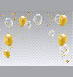 Gold balloons isolated celebration party banner vector