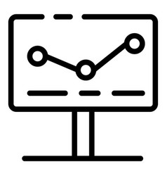 Graph on monitor icon outline style vector