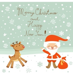 Greeting card with Santa and deer vector image