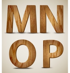 Grunge Wooden Alphabet Letters M N O P vector image