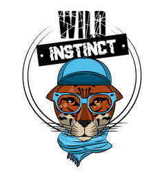 hipster wild leopard print for t shirt vector image