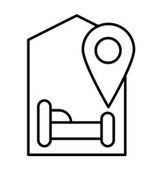 Hotel location thin line icon map pointer and bed vector
