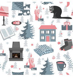 Hygge seamless pattern with vector