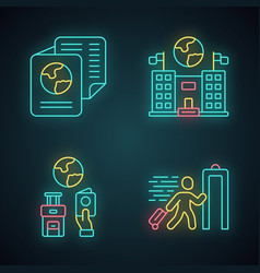 immigration neon light icons set embassy vector image