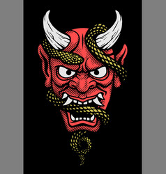 japanese mask a demon with a snake on a dark vector image