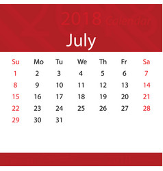 july 2018 calendar popular red premium for vector image