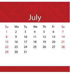 July 2018 calendar popular red premium vector
