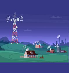 Landscape wireless tower satellite antena mobile vector