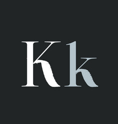 Letter k with dry brush stroke and serif vector