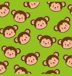 little cute monkey heads pattern vector image