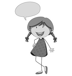 Little girl and speech bubble vector image