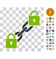 Lock blockchain icon with bonus vector