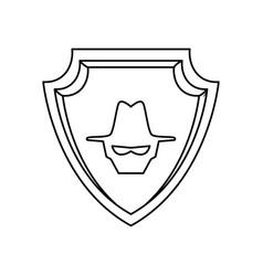 malware spyware head shield crest vector image