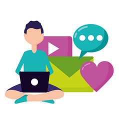 man laptop social media vector image