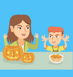 Mother and son carving pumpkins for halloween vector
