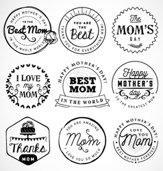 Mothers Day Badges and Labels in Vintage Style vector image