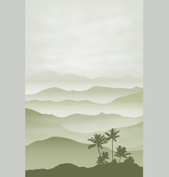 Mountains with palm tree in fog background vector