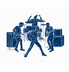 musician playing music together music band vector image