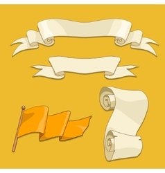 Old scroll flag and ribbon vector image