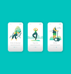outdoor weekend lifestyle mobile app page vector image