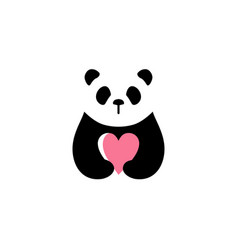 panda love logo icon vector image