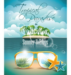 Paradise island on clouds background vector