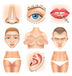 Plastic surgery icons set vector