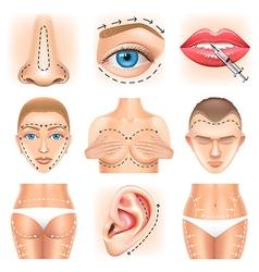 Plastic surgery icons set vector