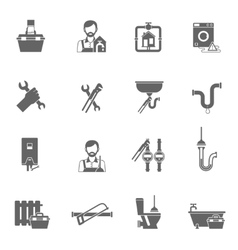 Plumber Icons Black vector image