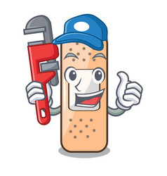 Plumber sticking plaster isolated with on cartoon vector