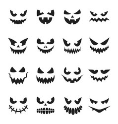 Pumpkin face set decoration for halloween vector
