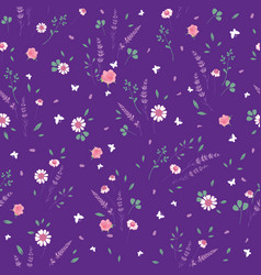 Purple roses daisies ditsy seamless pattern vector