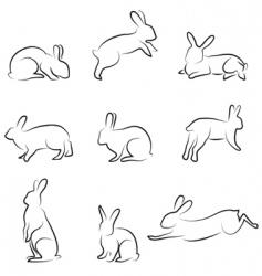 rabbit drawing set vector image