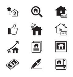 Real estate icons symbol set vector