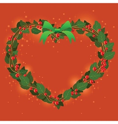 Red Green Wreath Bouquet heart ornament for vector image