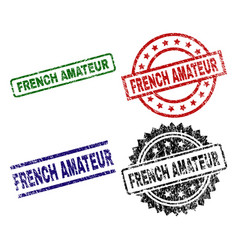Scratched textured french amateur stamp seals vector