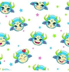 Seamless pattern with funny blue monster faces vector