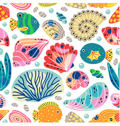 Seamless pattern with underwater sea life vector