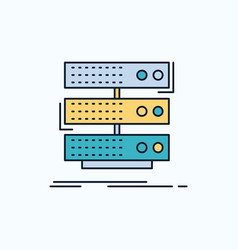 Server storage rack database data flat icon green vector