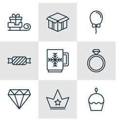 set of 9 happy new year icons includes brilliant vector image
