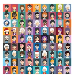 Set of people icons in flat style with faces 26 a vector image