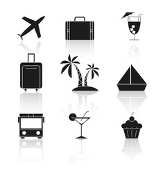 set of travel holiday reflection icons vector image