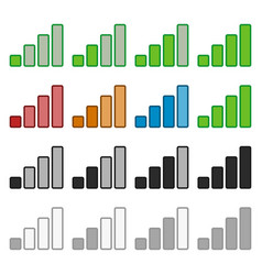 Signal strength indicator set in various colors vector
