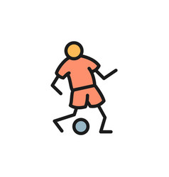 soccer player passes ball flat color icon vector image