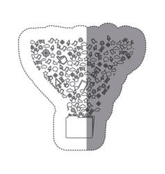 Sticker silhouette folder with communication tech vector