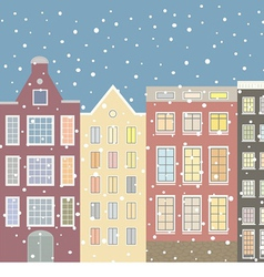 Street houses of the old city and snow vector
