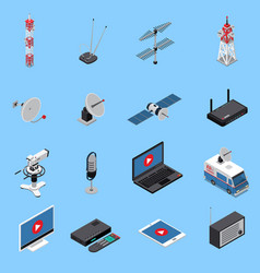 Telecommunication isometric icons set vector